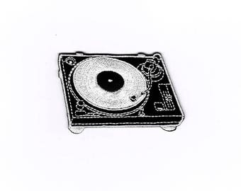 DJ turntable patches, turntable patch, iron, iron on sew