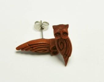 Arc Owl Stirrup Earrings Stud Loop Posts - Sabo Wood