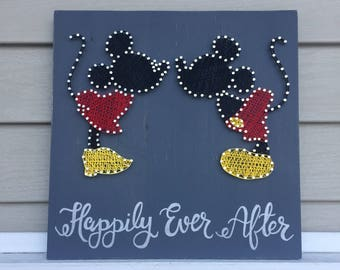 Minnie & Mickey String Art    Home Decor   Wedding Gift   Anniversary Gift