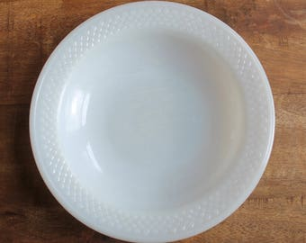 Three White Milk Glass Federal Heat Proof 8-inch Shallow Soup Salad Bowls
