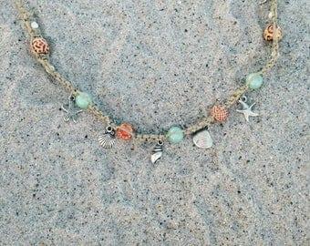 Seashell/Starfish Hemp Anklet