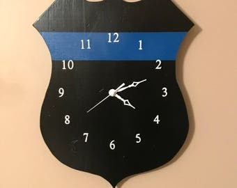 Back the Blue Police Wood Wall Clock