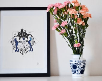 Hand Painted Oriental Watercolour Painting