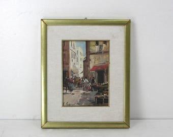 E. Antique exhibit oil on the market table-era ' 900-