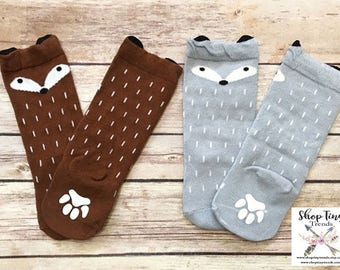 Fox Socks, Animal Socks, Baby Boy Gift, Baby Girl Gift, Baby Shower Gift, Baby Socks, Baby Gift, Cute Baby Gift