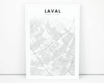 Quebec map etsy laval map print quebec qc canada map art poster city street road map print sciox Gallery