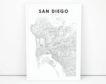 San Diego Map Print, California CA USA Map Art Poster, City Street Road Map Print, Nursery Room Wall Office Decor, Printable Map