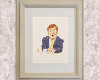 STEPHEN FRY, QI, Quite Interesting, Celebrity Portrait, Tv Show Art, Caricature, Giclee, Limited Edition Fine Art Print.