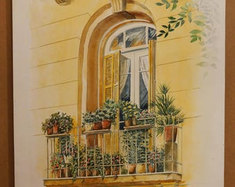 OLD GREEK WINDOWS, Old Window, Thessaloniki (Center of the City), (Aquarelle) 50x70cm, 2012