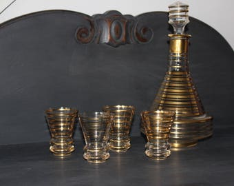 vintage glass carafe and 4 shot glasses, vintage glass, shot glasses