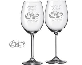 "2 Leonardo wine glasses with personalized engraving ""rings"" bride/Groom with name and date engraved wedding gift"