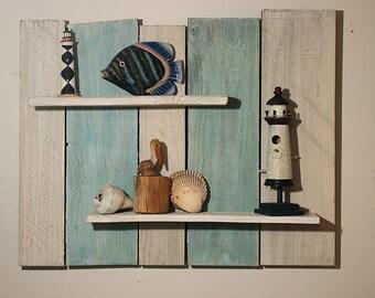 rustic hanging wall shelf - reclaimed wood