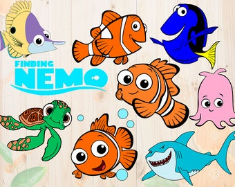 Finding nemo Svg, nemo Cut files: Dxf, Eps & Png clipart, Finding nemo characters for Cricut, Silhouette cameo, Dory Svg, Namo movie cutfile