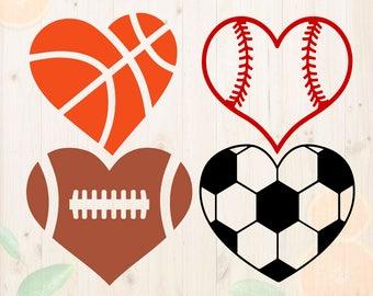 Heartshaped ball Svg, Baseball love Svg, Sport love Cutfiles, Soccer heart for Cricut, Silhouette cameo, Basketball heart svg, football svg
