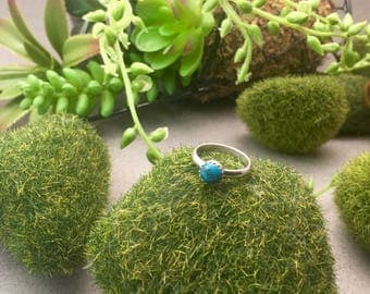 Turquoise set in serling silver ring