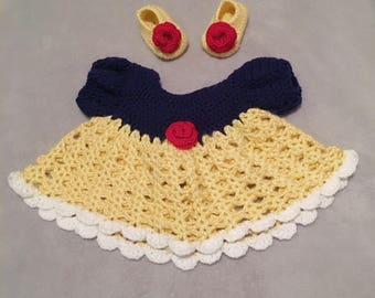 Snow White inspired baby dress and booties