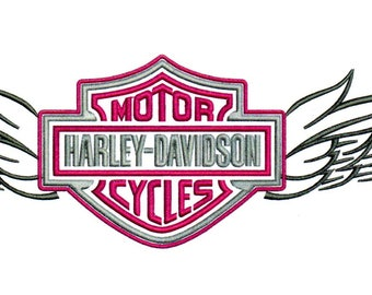 Embroidery Designs Harley Davidson Logo with Wings