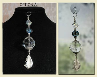 "Sun Catcher Pendant, ""Feather Flight"", Jewelry for Window or Wear,  Gift, Garden, Souvenir, Fashion Accessory, Ornament."