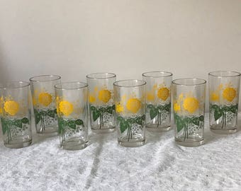 Jeanette Glass Yellow Rose Tumblers