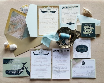 Teal Gold Nautical Wedding Invitation Suite - Whales Anchor Sea Ocean Crab Seahorse - Soft green - Catalina Suite