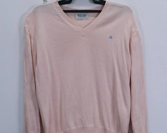 Vintage United Colors of Benetton Sweatshirt Small Embroidery Logo V-neck Pink Colour