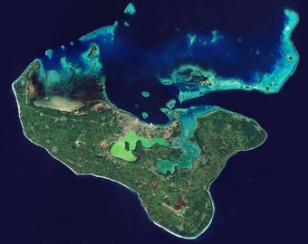 Instant Downloadable Satellite Image of Tonga and coral reefs in the Pacific Ocean - Elements of this image furnished by ESA