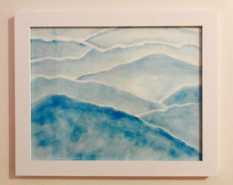 blue mountains original watercolor painting