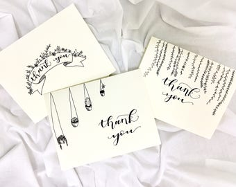 3 Pack Thank You Floral Doodle Hand Lettered Cards with Envelopes
