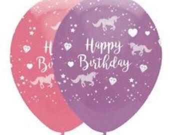 "Unicorn Happy Birthday Balloons | Unicorn Party Balloons | Pink and Lilac | Unicorn Balloons | Unicorn Decorations | 6 Per Pack | 12"" | 30cm"