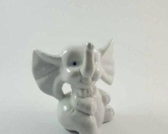 Cute White Elephant Figurine