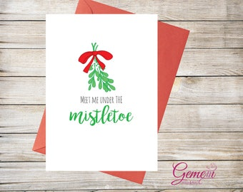 Christmas card, Greeting card, Xmas, Mistletoe, husband, wife, partner, girlfriend, boyfriend, fiance