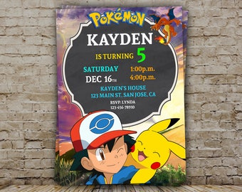 Pokemon Invitation, Pokemon, Pokemon Party, Pokemon Printable, Pikachu Invitation, Pokemon Invite, Pokemon Go Party