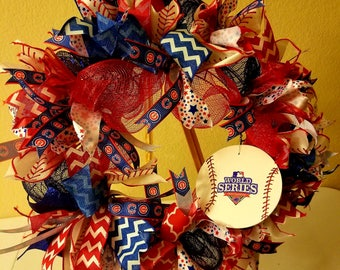Chicago Cubs Deco Mesh and Ribbon Wreath