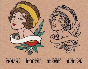 Old school Tattoo Pin up  Girl  , SVG,vector,clipart,