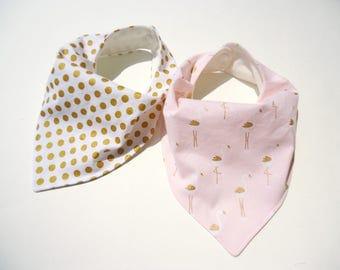 Baby girl bandana bibs-Gold polka dot bib-Baby gold flamingos bib-Bamboo bibs for girls-Baby girl bibs-Baby shower gift