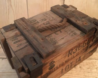 Vintage Ammo Box, Wood Ammo Box, Military Box, Vintage Wood Crate, Rustic Decor, Storage Crate