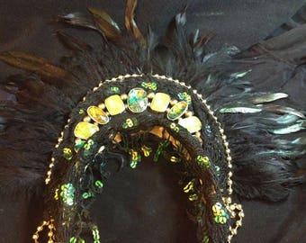 beltane headdress headpiece fairy queen goddess carnival samba dance fantasy jewel spring fire woodland forest shaman elf magic pagan wild