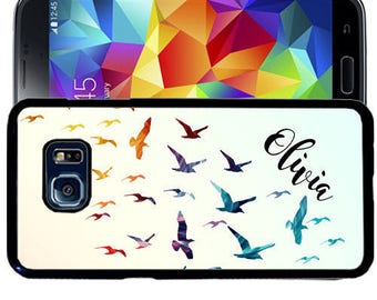 Personalize Rubber Case For Samsung Note 3, Note 4, Note 5, or Note 8- Flying Birds