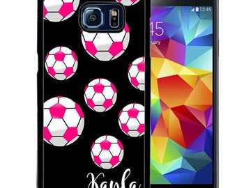 Personalize Rubber Case For Samsung Note 3, Note 4, Note 5, or Note 8- Pink Soccer Balls