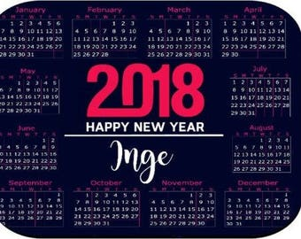 Personalized Mouse Pad - 2018 Calendar Navy Pink