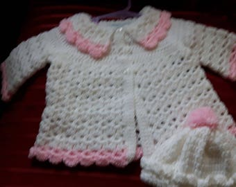 Beautiful little girls crochet jacket and hat