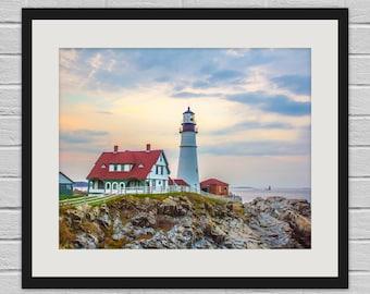 Sunset at Portland Head Light - Maine Lighthouse Photo and Canvas Print