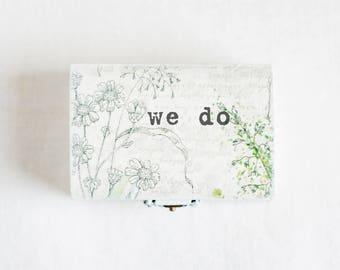 Wedding Ring Box, Rustic Ring Box, White Ring Holder, Ring Box, Ring Box Wedding, we do, Wooden Ring Box, Ring Holder, Personalized Box