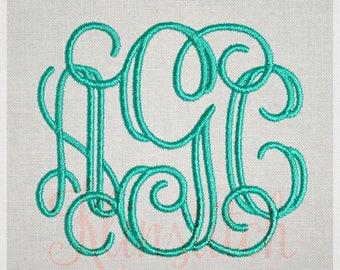 Open Vine Monogram Embroidery Fonts 4 Sizes Three Letters Monogram Fonts BX Fonts Embroidery Designs PES Alphabets - Instant Download