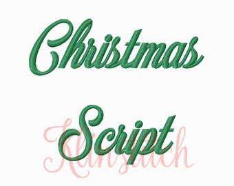50% Sale!! Christmas Script Embroidery Fonts 5 Sizes Fonts BX Fonts Embroidery Designs PES Fonts Alphabets - Instant Download