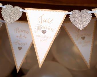 Handmade Wedding Bunting - Personalised Mr and Mrs Banner - Civil Partnership Bunting - Quality Gold Bunting - Wedding Reception Decor