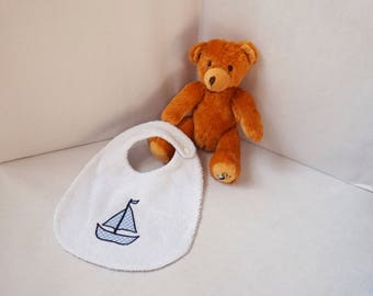 Baby towel bib reversible gingham sky and Terry cloth white boat/sailor pattern