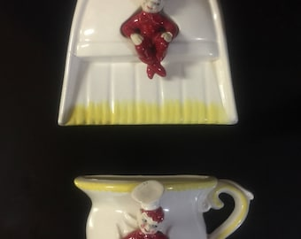 Gilner 1950's Red Chef Teacup and Dustpan
