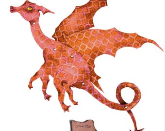 Peach Dragon, orange dragon, paper dragon, fairy doll, paper doll, articulated, posable, digital Download