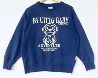 Uittg baby monkey Sweatshirt blue colour Big Logo Embroidery Sweat Medium Size Jumper Pullover Jacket Sweater Shirt Vintage 90's
